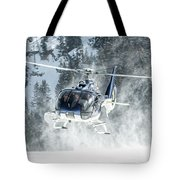 F-hana Eurocopter Ec-130 Landing Helicopter At Courchevel Tote Bag