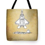 F22 Raptor Blueprint Tote Bag