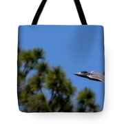 F22 Raptor Flying Low Tote Bag
