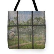 Prison Yard With Razor Wire, Guard House And Satellite Dish Tote Bag