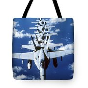 Fa-18c Hornet Aircraft Fly In Formation Tote Bag