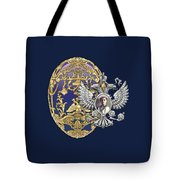 Faberge Tsarevich Egg With Surprise On Blue Velvet Tote Bag