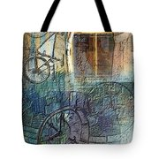 Face In The Window Embossed Montage Tote Bag