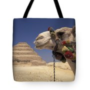 Face Of A Camel In Front Of A Pyramid Tote Bag