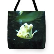 Face Of A Horned Boxfish Swimming Underwater Tote Bag