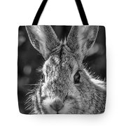 Face Of A Rabbit In Black And White Tote Bag