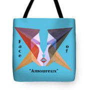 Face Of Amoureux Text Tote Bag