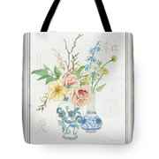 Faded Glory Chinoiserie - Floral Still Life 2 Blush Gold Cream Tote Bag