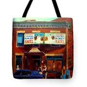 Fairmount Bagel By Montreal Streetscene Painter Carole  Spandau Tote Bag