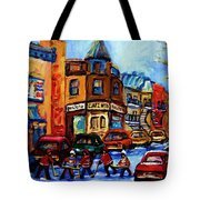Fairmount Bagel With Hockey Game Tote Bag