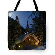 Fairy House In The Forest Moonlit Winter Night Tote Bag