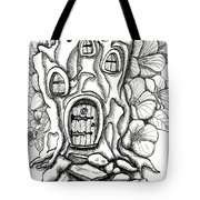 Fairy House Stump And Hibiscus Tote Bag