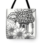 Fairy House With Pine Cone Roof And Daisies Tote Bag