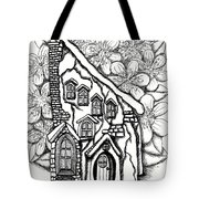 Fairy Stucco House With Flowers Tote Bag