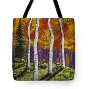 Fall Birch Trees Painting Tote Bag