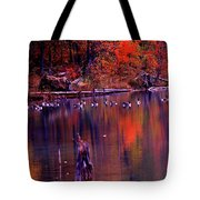 Fall Colors And Geese Tote Bag