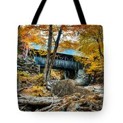 Fall Colors Over The Flume Gorge Covered Bridge Tote Bag