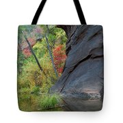 Fall Colors Peek Around Mountain Vertical Tote Bag
