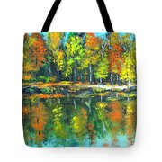 Fall Landscape Acrylic Painting Framed Tote Bag