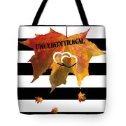 Fall Leaf Love Typography On Black And White Stripes Tote Bag