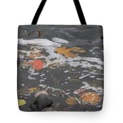 Fall Leaves Floating On The River Tote Bag