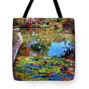 Fall Leaves On Lily Pond Tote Bag
