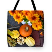 Fall Mums And Pumpkins Tote Bag