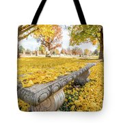 Fall Park Bench Tote Bag
