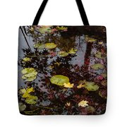 Fall Pond Reflections - A Story Of Waterlilies And Japanese Maple Trees - Take One Tote Bag