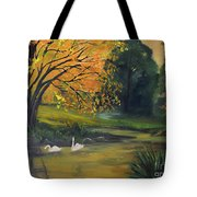 Fall Pond With Swans Tote Bag
