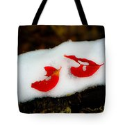 Fall Red Winter White Tote Bag