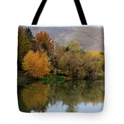 Fall Reflection Below The Hills In Prosser Tote Bag
