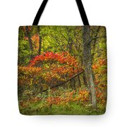 Fall Sumac Trees With Red Leaves In A Michigan Forest During Autumn Tote Bag