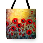 Fall Time Poppies  Tote Bag