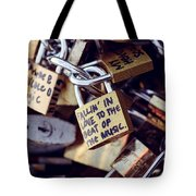 Falling In Love To The Beat Of The Music, Love Lock Tote Bag