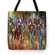 Falling Into Winter Herd Tote Bag by Laurie Pace