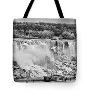 Falls Black And White Tote Bag