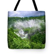 Falls Through The Fog - Plitvice Lakes National Park Croatia Tote Bag