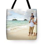 Family At Lanikai I Tote Bag by Brandon Tabiolo - Printscapes