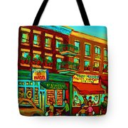 Family Frolic On St.viateur Street Tote Bag