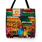 Family  Fun At St. Viateur Bagel Tote Bag