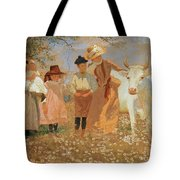Family Group With Cow Tote Bag