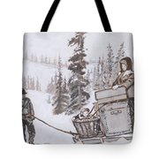 Family Moving With Sled Historical Vignette Tote Bag