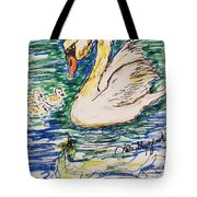 Family Of Swanns  Tote Bag