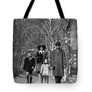 Family Out Walking On A Wintry Day Tote Bag