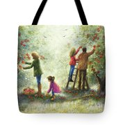 Family Picking Apples Tote Bag