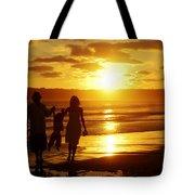 Family Walk On Beach Tote Bag