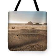 Family Walking On Sand Towards Ocean Tote Bag