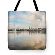 Famous Binnenalster In Hamburg Downtown At Sunset Tote Bag