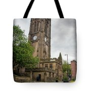 Famous Cathedral Of Manchester City In  Uk Tote Bag